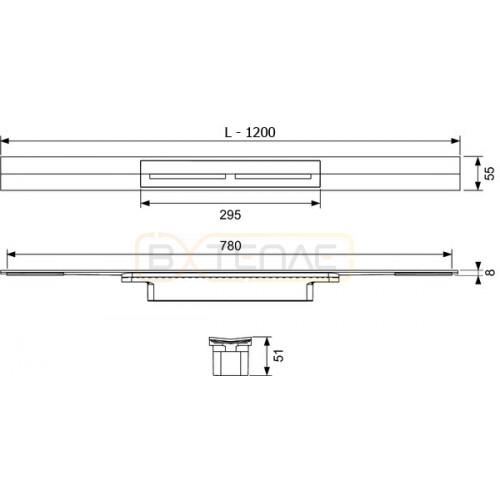 Душевой лоток TECE TECEdrainprofile 1200 мм сатин