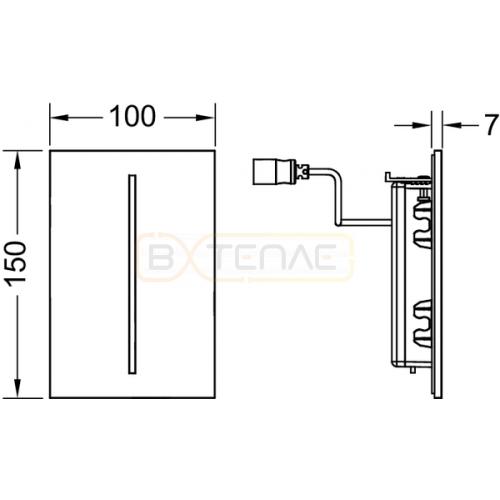 Кнопка смыва TECE Filo Urinal 7,2 В черное стекло
