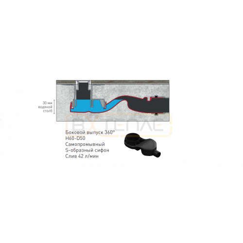 Душевой лоток BERGES SIMPEL 600, матовый хром, боковой выпуск S-сифон D50 H60