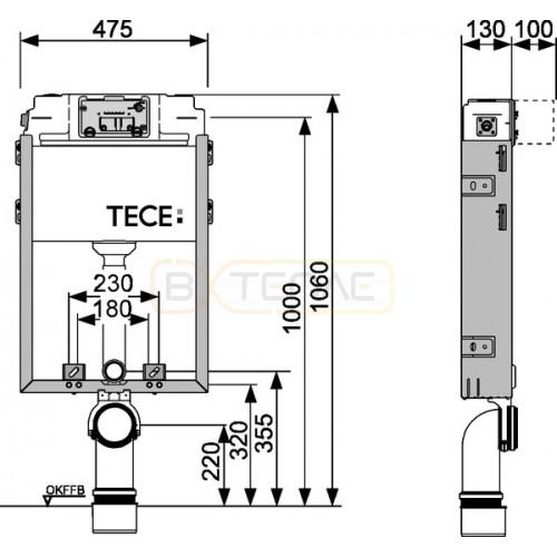 Инсталляция в нишу для подвесного унитаза TECE TECEbox