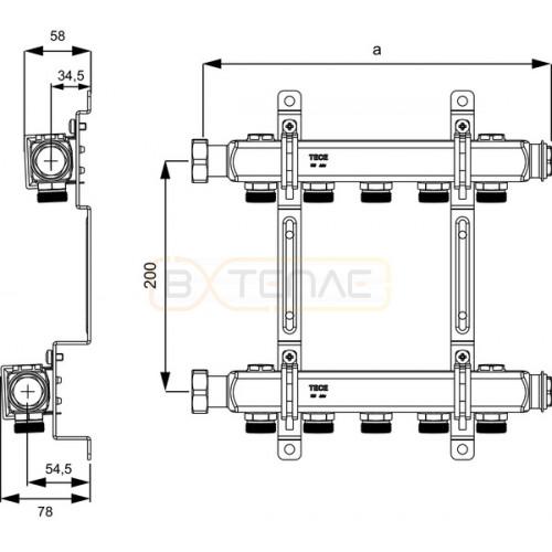 """Коллектор TECE без вентилей для систем отопления, 1"""" x 3/4""""Ек, 5 контуров"""