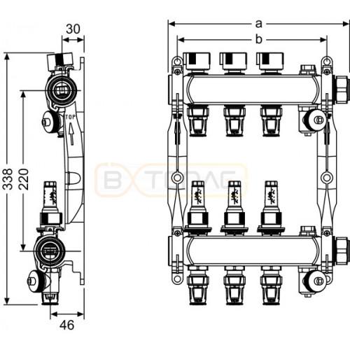 "Коллектор TECEfloor для теплого пола 1"" x 16 Push-fit, 5 контуров"