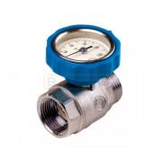 """Шаровый кран TECEfloor с встроенным термометром 1"""" x 1"""" синий"""