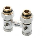 """Запорно-присоединительный узел TECE для нижнего подключения радиаторов, проходной 3/4"""" Ek x 1/2"""" AG"""