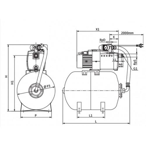Насосная станция c мембранным баком Wilo HiMulti 3 H 50/2-25 P
