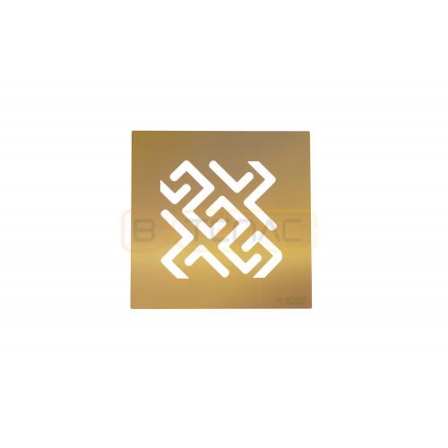 Душевой трап BERGES PLATZ Antik 100х100, золото хром, вертикальный выпуск S-сифон D50/105мм H30/80мм
