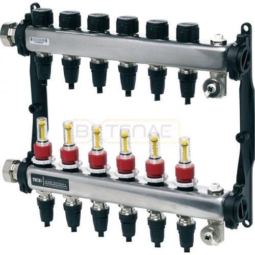 "Коллектор TECEfloor для теплого пола 1"" x 16 Push-fit, 10 контуров"