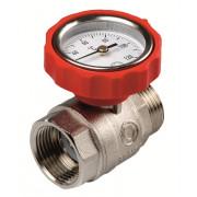 Шаровый кран с термометром красный