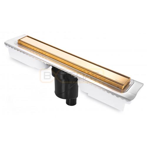 Душевой лоток BERGES В1 Keramik 900, золото глянец, вертикальный выпуск S-сифон D50/105мм H30/135мм