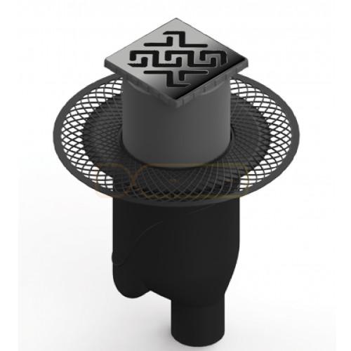Душевой трап BERGES PLATZ Antik 100х100, матовый хром, вертикальный выпуск S-сифон D50/105мм H30/80мм