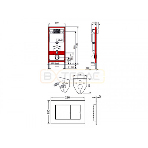 Инсталляция для подвесного унитаза TECEbase 4 в 1 с белой кнопкой смыва TECEnow