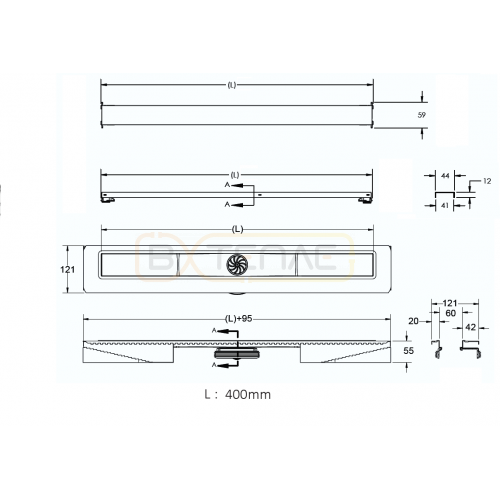 Душевой лоток BERGES C1 Norma 400, матовый хром, вертикальный выпуск S-сифон D50/105мм H30/80мм