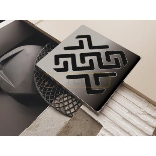 Душевой трап BERGES PLATZ Antik 150х150, матовый хром, боковой выпуск S-сифон D50 H60