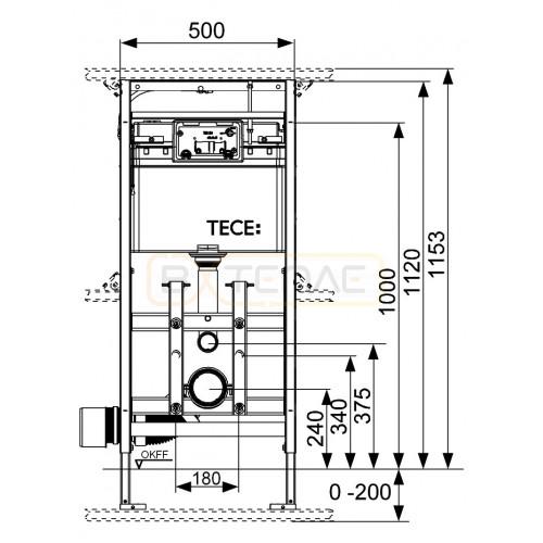 Инсталляция для подвесного унитаза TECElux 200 9600200
