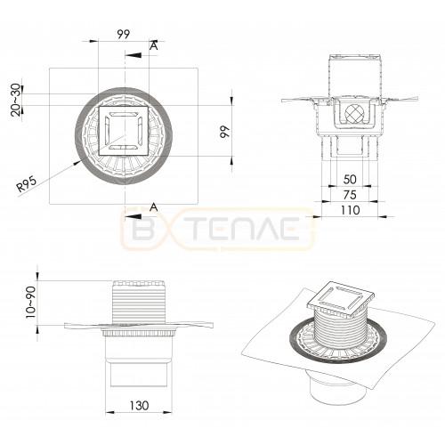 Душевой трап BERGES ZENTRUM Norma 100х100, матовый хром, вертикальный выпуск сифон D50/70/100мм H74