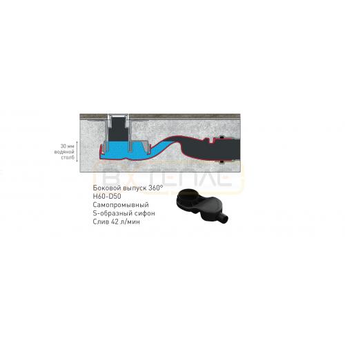 Душевой лоток BERGES SIMPEL 800, хром глянец, боковой выпуск S-сифон D50 H60