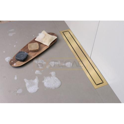 Душевой лоток BERGES TOP Stark 700, золото глянец, вертикальный выпуск S-сифон D50/105мм H30/135мм
