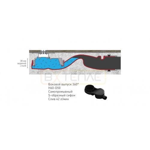 Душевой лоток BERGES SUPER Slim 700, хром глянец, боковой выпуск S-сифон D50 H60