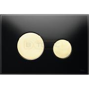 Кнопка смыва TECE Loop черное стекло кнопки золотые