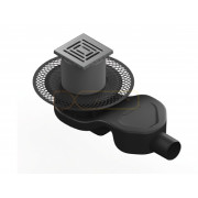 Душевой трап BERGES PLATZ Uno 100х100, матовый хром, боковой выпуск S-сифон D50 H60, 090169