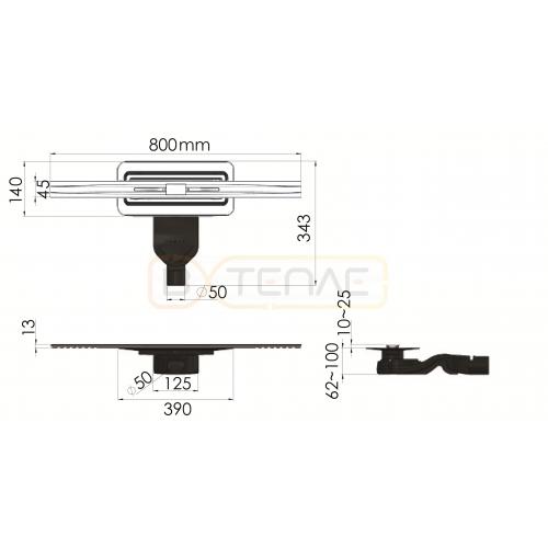 Душевой лоток BERGES SIMPEL 800, матовый хром, боковой выпуск S-сифон D50 H60