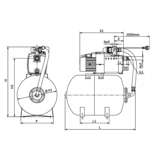 Насосная станция c мембранным баком Wilo HiMulti 3 H 50/2-45 P