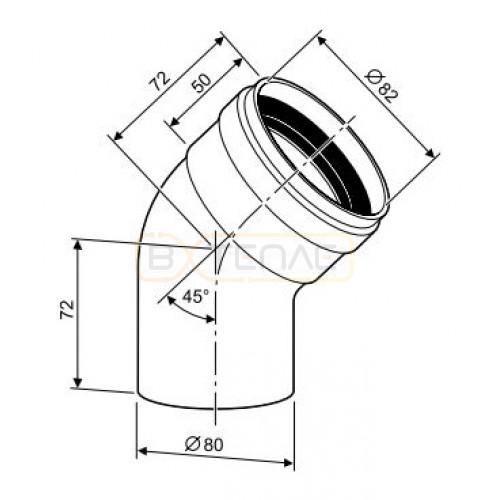 Угловое колено Buderus DN 80 45°