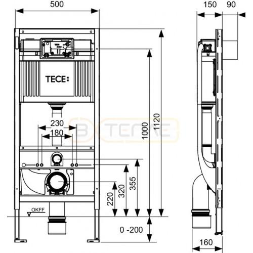 Инсталляция для подвесного унитаза с подключением биде TECE TECEprofil